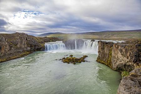 Godafoss falls in Icelandic landscape near Akureyri in Iceland.