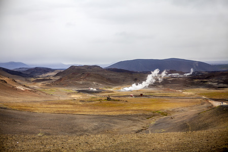 Geothermal Power Station. Region of Hverir in Iceland near Myvatn Lake. photo