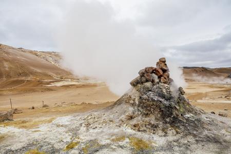 Fumarole in Icelandic Geothermal Site Hveryr, Lake Myvatn