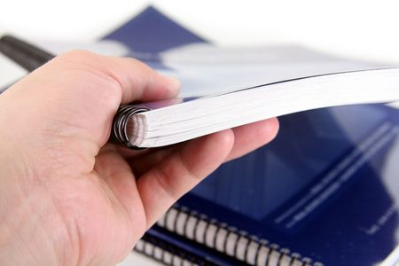 directory book: hand over a generic manual Stock Photo