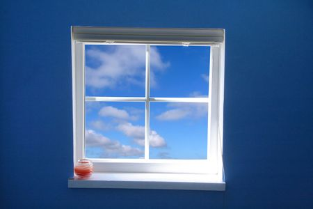 window and blue sky, concept of freedom