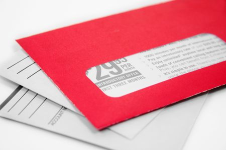 mail delivery: red advertising envelope