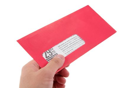 hand hold red advertising envelope Stock Photo - 402230