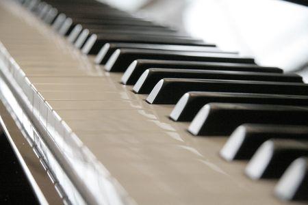 acoustically: Close up shot of piano keys Stock Photo