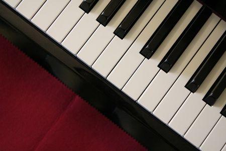 Close up shot of piano keys photo