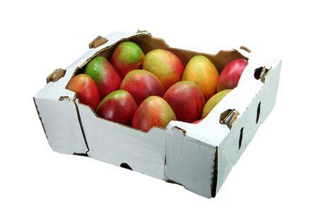 mango fruta: una caja de mangos  Foto de archivo
