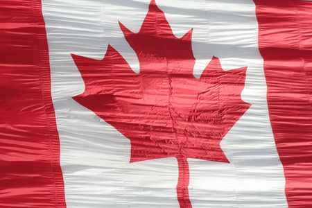 goffer: silk canadian flag close-up