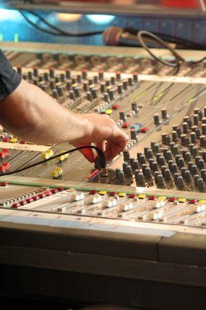 Audio Mixing panel with operator.
