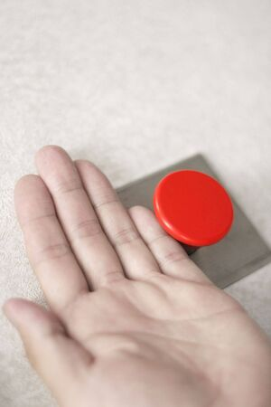push: hands and red button, concept of help, start, push button, easy, emergency