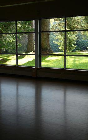 joga: look through a window and beautful landscape Stock Photo