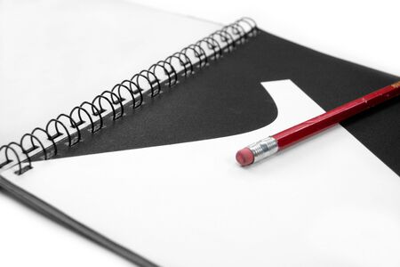 guidebook: artwork and red pencil, concept of learning art and design Stock Photo