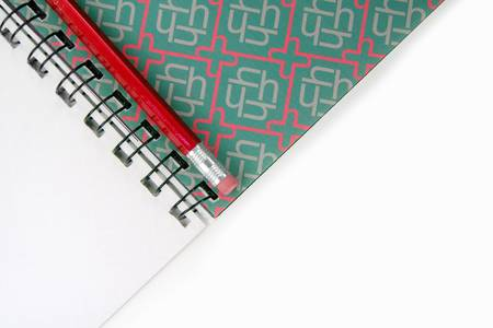 spiral notebook: artwork and red pencil, concept of learning art and design Stock Photo