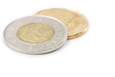 specie: canadian coins, two dollar and one dollar coins