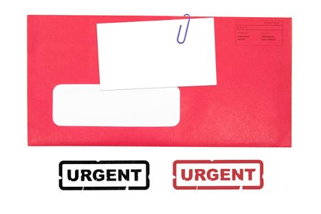 red envelope with blank business card, and urgent stamp Stock Photo