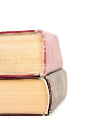 two isolated  old yellow book