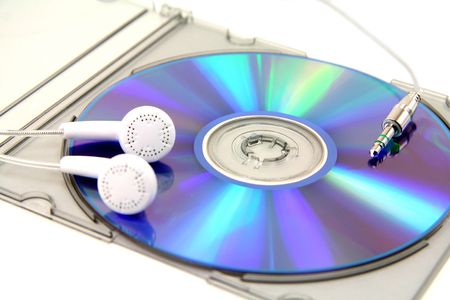 cd, earphone, concept of mp3 music