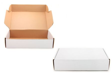 shipped: two white boxes,  one open and one closed