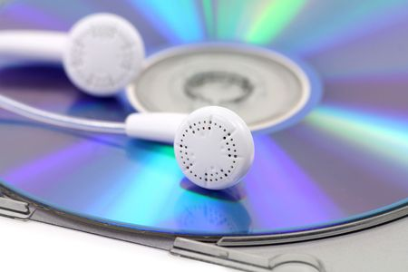 earphone: cd, earphone, concept of mp3 music