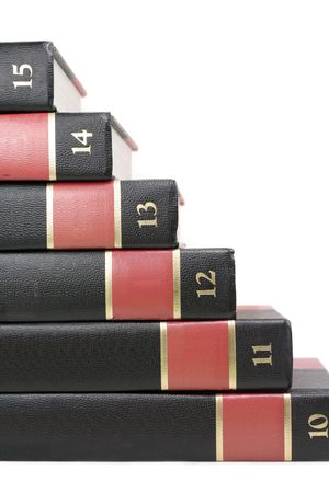 encyclopedias: Libros (enciclopedia) con fondo blanco, el concepto de la educaci�n  Foto de archivo