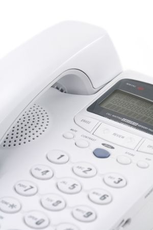 white telephone with white background, concept of communication photo