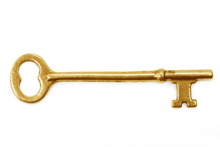 success key: gold key with white background, concept of success
