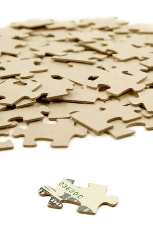 us dollar: us dollar and puzzle, business concept Stock Photo