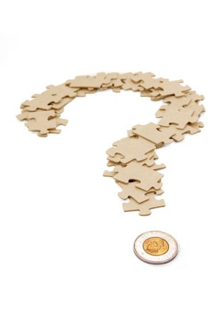 canadian dollar and  question mark, business concept