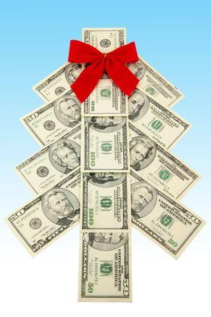 christmas profits: Money Christmas tree, business concept Stock Photo