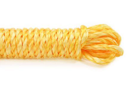 흰색 배경으로 노란 밧줄 스톡 콘텐츠