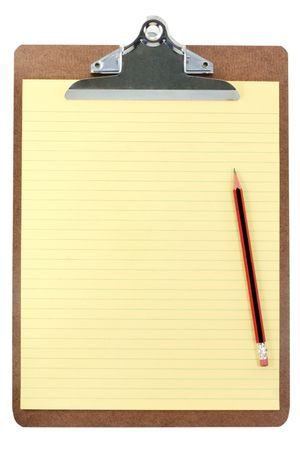 clipboard and yellow paper with white background Stock Photo - 627150