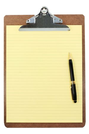 clipboard and yellow paper with white background