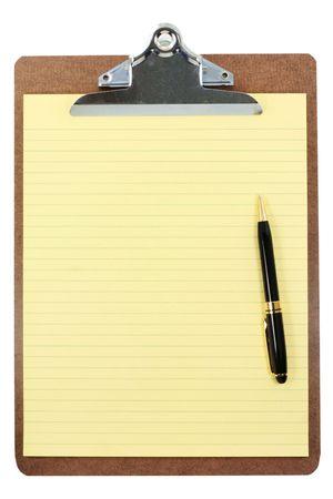 portapapeles: Portapapeles y papel amarillo con fondo blanco
