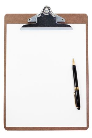 clipboard and blank paper with white background Stock Photo - 627148