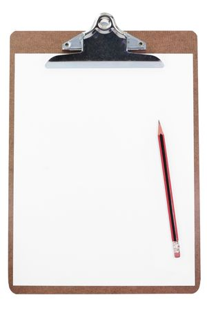 clipboard and blank paper with white background photo