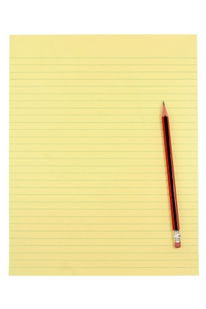 yellow paper and pencil with white background Stock Photo - 627146
