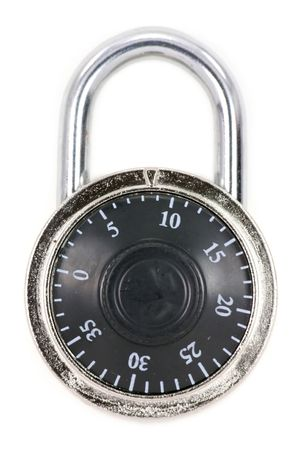 combination: a combination lock with a white background