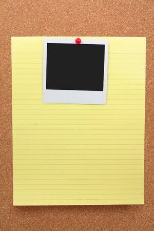 corkboard: corkboard, notepaper and blank photo Stock Photo
