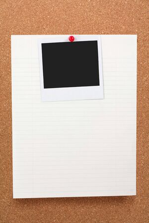 corkboard, notepaper and blank photo photo