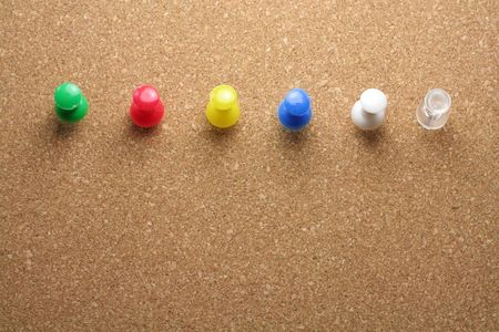 transparence: pushpins, you can choosing color you need Stock Photo