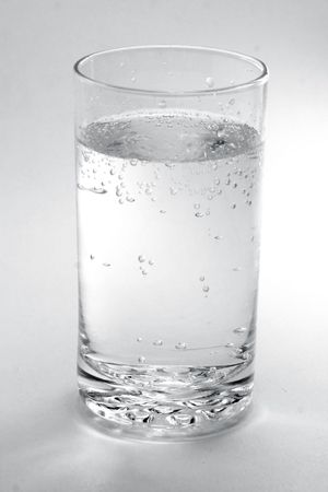 a glass of water or soda