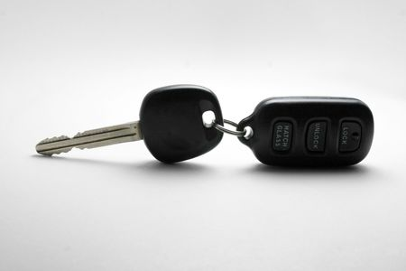 keyless: car key and remote control with white background
