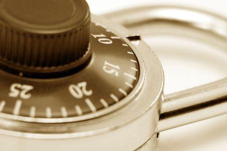 combination: a combination lock close up