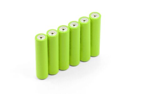green batteries with white background Stock fotó