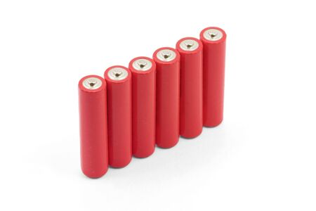 red batteries with white background