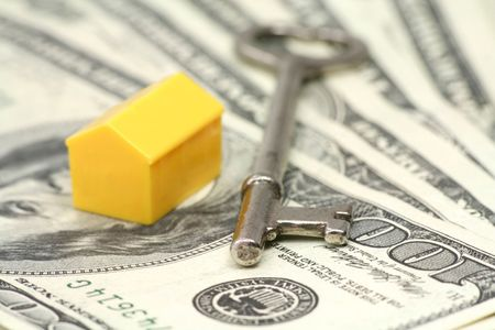 realty residence: house, key and dollar, concept of real estate