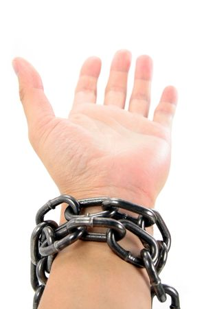 chain and hand with white background, concept of freedom Stock Photo - 626778