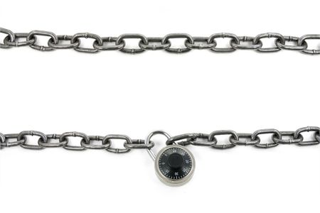combination: chain and combination lock with white background