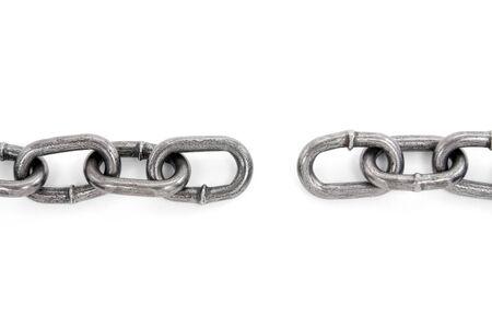cadena rota: roto la cadena con fondo blanco