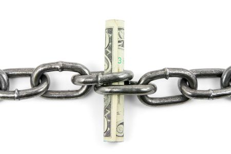 partnership security: chain and us dollar with white background, concept of financial support