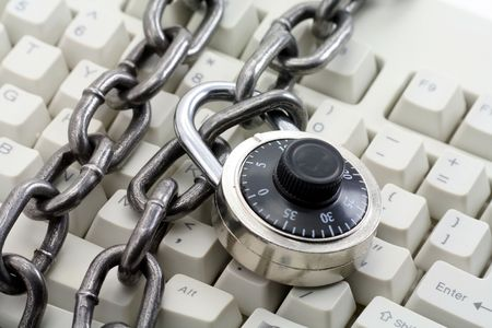 chain and keyboard,concept of computer safety Stock Photo - 633461